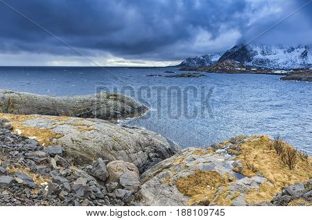 Travel Concept and Ideas. Lofoten Islands Scenery against Snowy Mountains. During Spring Time.Horizontal Image