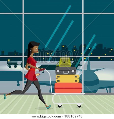 Young afro woman with a trolley with luggage in the airport terminal is late for the plane at night.  Flat vector cartoon illustration