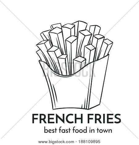 Hand drawn french fries icon. Vector badge fast food sketch style for brochures, banner, restaurant menu and cafe