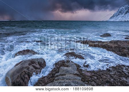 Ocean Waves and Roaring Water At Lofoten Islands in Norway.Horizontal Image Composition