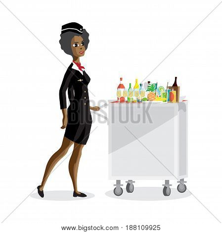 Flight afro attendant serving drinks to passengers on board of the aircraft. Vector flat cartoon illustration isolated