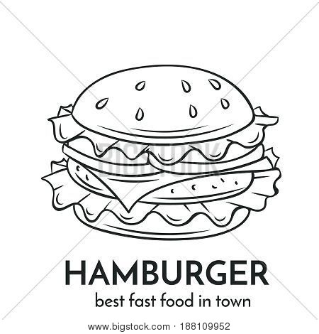 Hand drawn hamburger icon. Vector badge fast food sketch style for brochures, banner, restaurant menu and cafe
