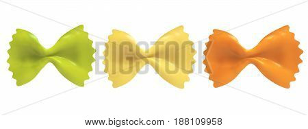 Farfalle pasta, isolated, Italian food 3d rendering