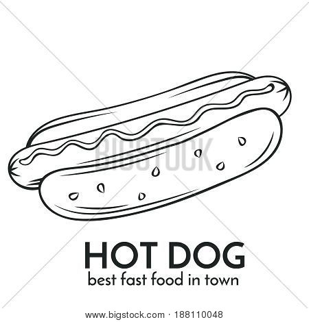 Hand drawn hot dog icon. Vector badge fast food sketch style for brochures, banner, restaurant menu and cafe