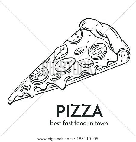 Hand drawn pizza icon. Vector badge fast food sketch style for brochures, banner, restaurant menu and cafe