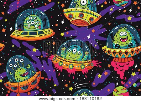 Seamless pattern with cartoon alien monsters in the spaceships. UFO. Vector illustration