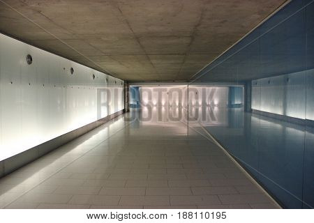 Underground tunnel in downtown Montreal city, Canada