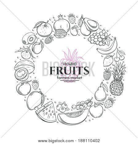 Poster template frame with hand drawn fruits for farmers market menu design. Healthy food concept. Vector vintage illustration.
