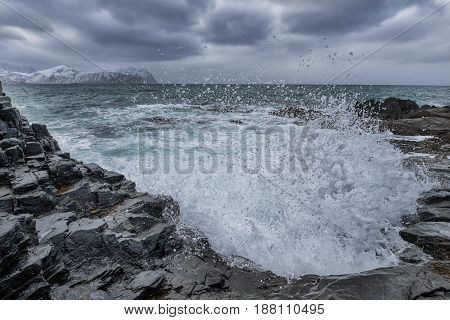 Ocean Waves Splasshes and Roaring Water on Beach At Lofoten Islands in Norway.Horizontal Image Composition