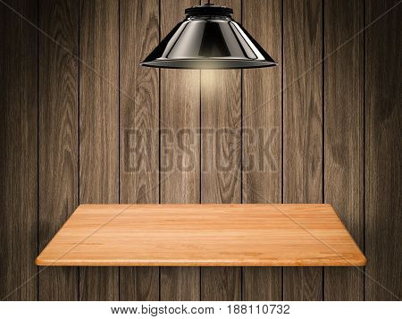 wooden shelf on wooden background with 3d rendering hanging light bulb