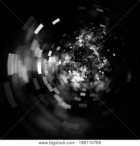 Abstract Square Bokeh On Dark Background. Fantasy Black And White Fractal Texture. Digital Art. 3D R