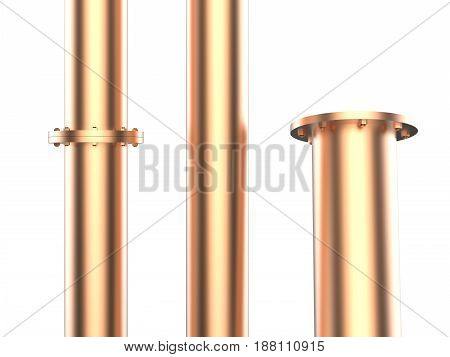 3d rendering copper pipe with flange joint isolated on white