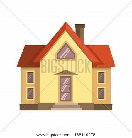 Vector illustration of yellow colored suburban house with red roof isolated on white.