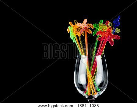 Crystal glass with color party decoration party decoration with black background