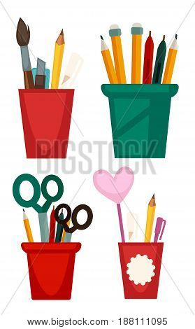 Vector illustration of different cups for keeping books isolated on white.