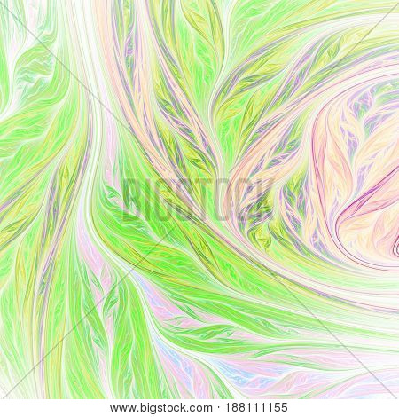 Abstract Colorful Green, Orange And Violet Swirly Shapes On White Background. Fantasy Fractal Design