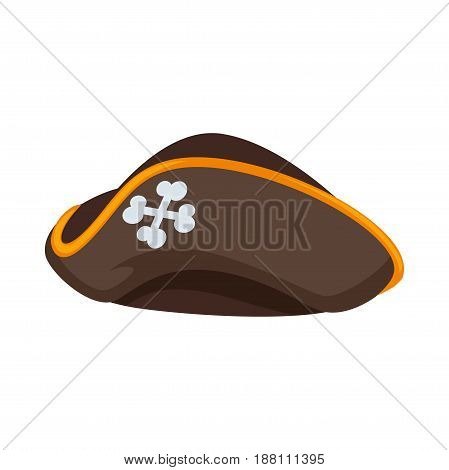 Vector illustration of sailor hat with crossed bones isolated on white.