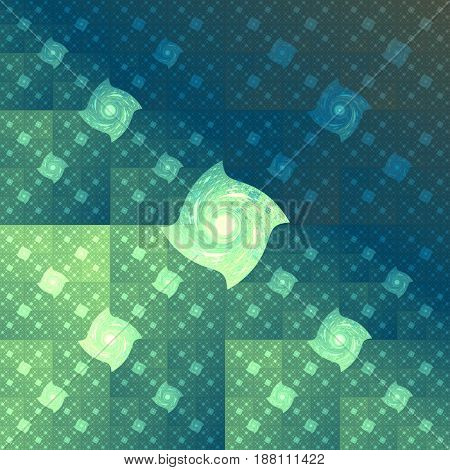 Abstract Geometric Background. Psychedelic Fractal Design In Dark Blue And Green Colors. Digital Art