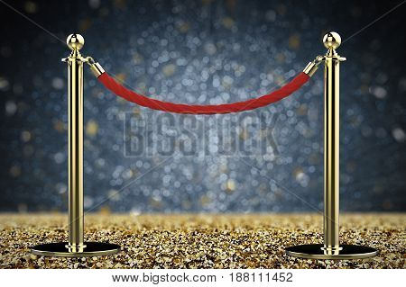 Red Rope Barrier With Gold Pillar