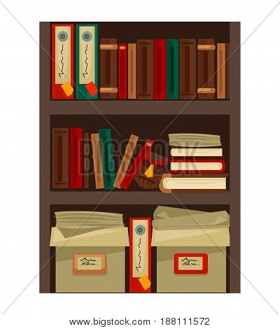 Vector illustration of the bookcase with different books and papers isolated on white.