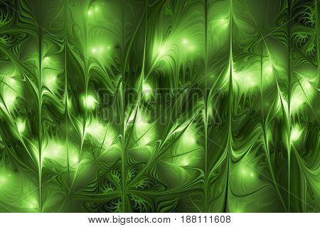 Abstract Glossy Green Shapes. Fantasy Fractal Design. Digital Art. 3D Rendering.