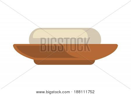 Vector illustration of soap-box with a piece isolated on white.