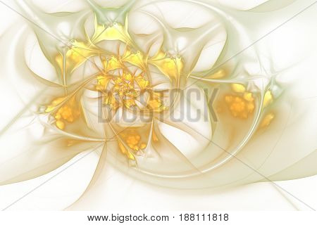 Abstract Exotic Golden Flowers On White Background. Fantasy Fractal Design. Psychedelic Digital Art.