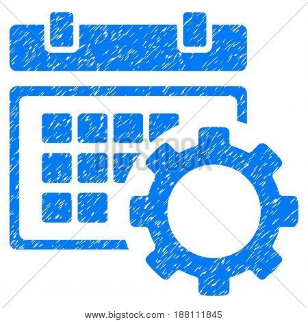 Grunge Schedule Options icon with grunge design and unclean texture. Unclean vector blue pictogram for rubber seal stamp imitations and watermarks. Draft sign symbol.