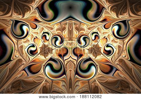 Abstract Gems On Dark Background. Fantasy Symmetrical Fractal Texture In Golden, Black And Green Col