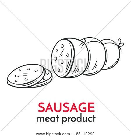 Hand drawn sausage icon. Vector badge meat product sketch style for brochures, banner, packagingmenu and market