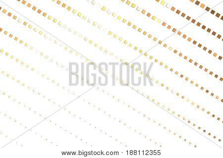 Abstract Geometric Texture With Golden Square Pixels On White Background. Fantasy Hexagonal Fractal