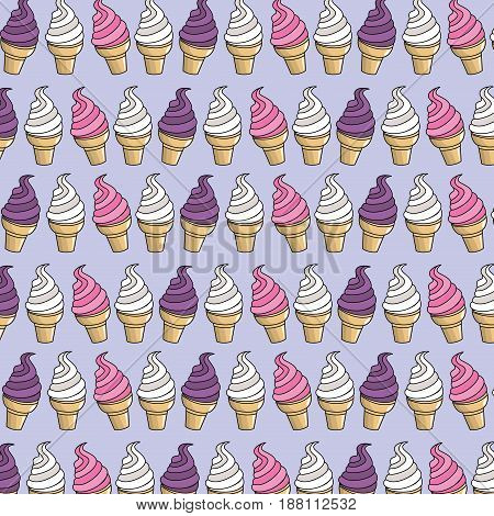 tasty ice cream in the cornet background, vector illustration
