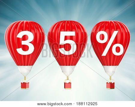 35% Sale Sign On Red Hot Air Balloons