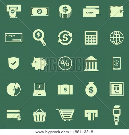Payment color icons on green background, stock vector