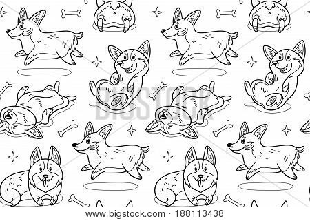Cute seamless pattern with corgi cartoon characters. Vector contour image. Coloring book page