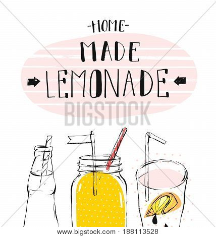 Hand drawn vector abstract summer time illustration with lemonade detox glass jar bottle, lemon slice and handwritten modern calligraphy quote Home Made Lemonade isolated on white background.Sign, logo