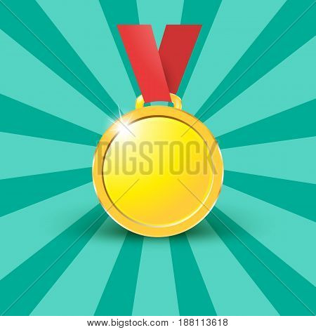 Medals Gold Copper On A Red Ribbon Isolated On White Background