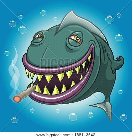 Smiling happy cartoon fish with red eyes smoking marijuana underwater. Vectorial illustration.