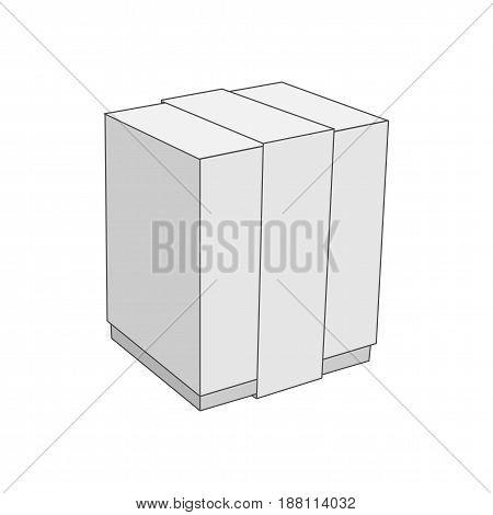 White Cardboard blank vector Box Template single Object