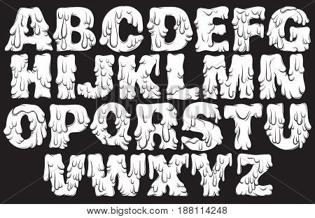 Vector melting type. Trendy font made in hand drawn line style. Cute font for card poster banner print for t-shirt.