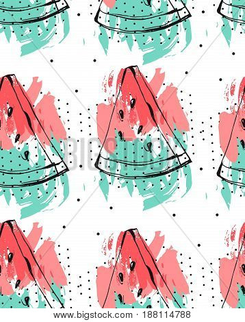Hand drawn vector abstract collage seamless pattern with watermelon fruit isolated on white background.Unusual decoration for summer time wedding, birthday, save the date, journalling, fashion fabric