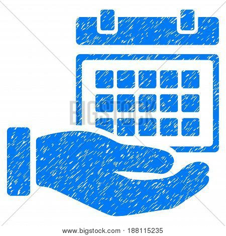 Grunge Service Timetable icon with grunge design and unclean texture. Unclean vector blue pictogram for rubber seal stamp imitations and watermarks. Draft sign symbol.