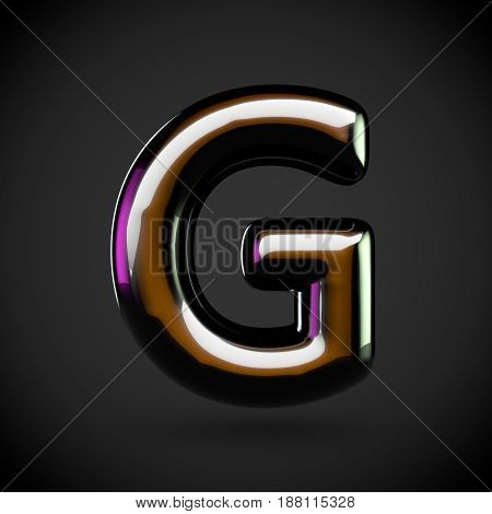 Glossy Black Letter G Uppercase With Colored Reflections