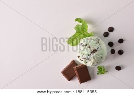 Ice Cream Flavored Mint Choco Background Top View Isolated