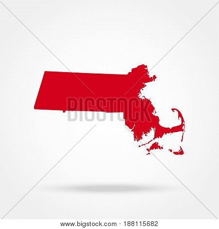map of the U.S. state Massachusetts, Vector illustration design
