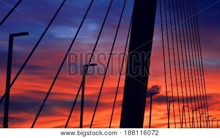 Highway Bridge With Dawn Light