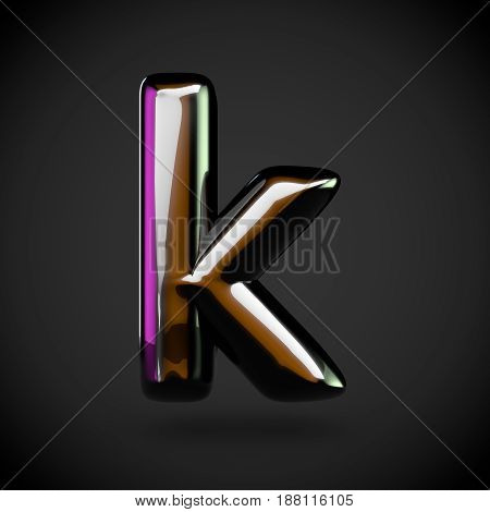 Glossy Black Letter K Lowercase With Colored Reflections