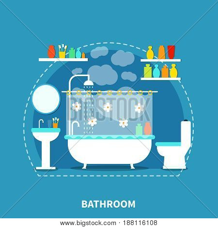 Bathroom interior concept with bath toilet and mirror on blue background flat vector illustration