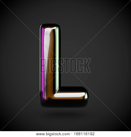 Glossy Black Letter L Uppercase With Colored Reflections