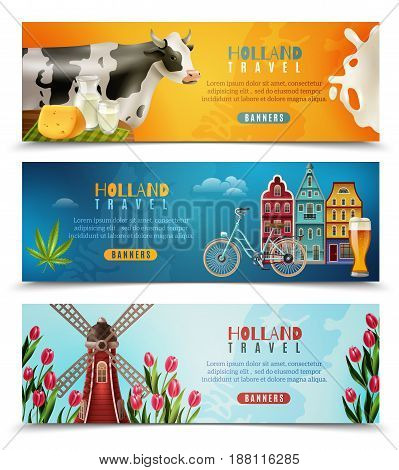 Holland culture for travelers with dutch houses milk cow and windmill with tulips banners set isolated vector illustration